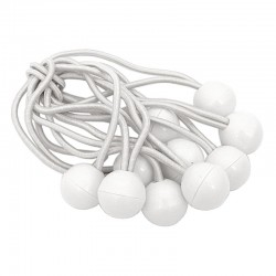 Guma napinacz z kulą Ball bungess 10szt białe 15cm-36620