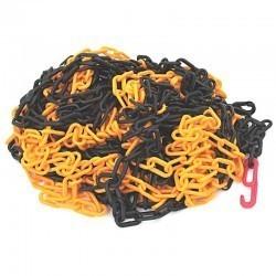 Łańcuch plastik żółto-czarny 6mm x 25m haki LP1R-36712