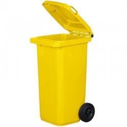 Kosz pojemnik na śmieci 120l żółty